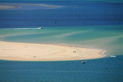 Horizontal view on atlantic ocean with boats by the dune pyla Royalty Free Stock Photos