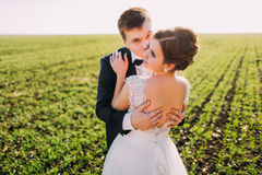 The horizontal view of the bride back kissed by the groom in the cheek at the background of the green field. The horizontal view of the bride back kissed by the royalty free stock photography