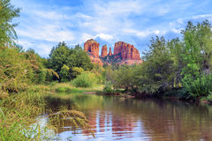 Horizontal view of Cathedral Rock Stock Image