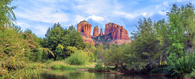 Horizontal view of Cathedral Rock Stock Photo