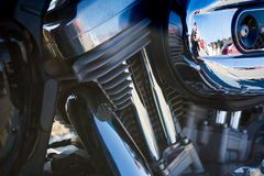 Horizontal View of Close Up of a Chrome Parts of a Motorbike. In a Sunny Day Royalty Free Stock Photography