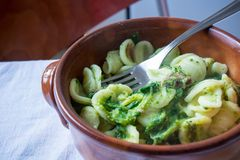 Horizontal View Of Close Up Of A Hot And Smoking Italian Traditional Food Called Orecchiette Con Le stock photos