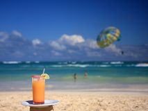 Horizontal view of cocktail on the beach Stock Photography