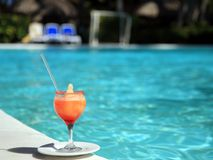 Horizontal view of cocktail near the pool Royalty Free Stock Images