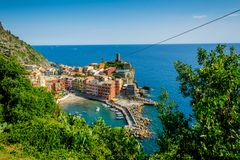 Horizontal View of the Coloured Town of Vernazza. Italy, National Park of the Cinque Terre stock image