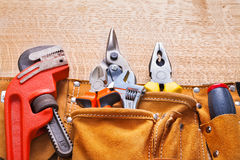 Horizontal view construction tools in toolbelt Royalty Free Stock Photo
