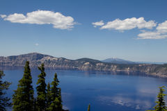 A horizontal view of the Crater Lake in Oregon, US. Shot at the Crater Lake National Park Stock Photo