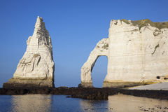 Horizontal view of Etretat Aval cliff Stock Images
