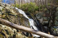 Falling Water Cascades – Horizontal View. Horizontal view of Falling Water Cascades located off the Blue Ridge Parkway at mile post 83.1 in Virginia Stock Photography