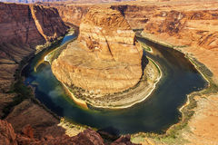 Horizontal view of famous Horseshoe Bend Stock Image