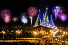 Horizontal view with firework. Shoot on the opposite bridge Royalty Free Stock Image