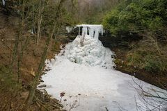 A Horizontal View of the Frozen Cascade Falls royalty free stock photography