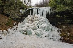 A Horizontal View of the Frozen Cascade Falls - 2. A horizontal view of the frozen Cascade Falls located in Jefferson National Forest, Giles County, Virginia stock photo