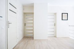 Horizontal view of hall with white doors Royalty Free Stock Photos