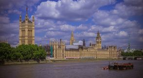 House of Parliament. Horizontal view of the House of Parliament from river Thames, Westminster, London, England Stock Image