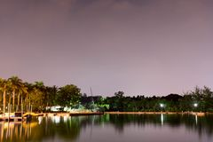 Horizontal view of lake and nature during dusk with night stars and smooth reflection on waters stock images
