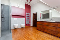 Horizontal view of modern bathroom interior Stock Photos