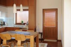 Horizontal view of modern furniture in luxury kitchen Royalty Free Stock Photos