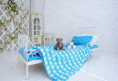 Horizontal view of modern homey bedroom interior. Stock Photography