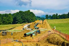A Horizontal View Mountain Valley Pipeline Going Under the Blue Ridge Parkway, Virginia, USA. Roanoke County, Virginia USA – July 26th: Mountain Valley royalty free stock images