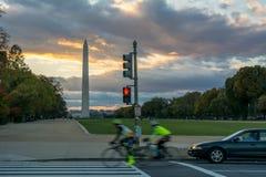 Horizontal View of the Obelisk in Washington DC at Sunset stock image