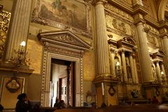 Golden door frame in Cathedral in Leon, Guanajuato. Horizontal View stock photography
