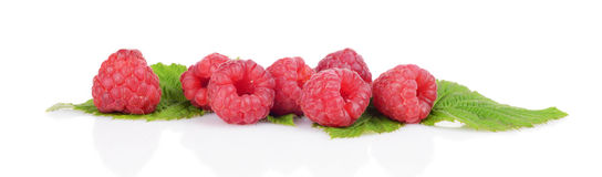 Horizontal view raspberries with leaves isolated white. Studio shot raspberries with leaves isolated on white background Stock Images