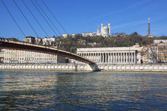 Horizontal view of Saone river at Lyon Royalty Free Stock Photography