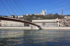 Horizontal view of Saone river at Lyon Royalty Free Stock Photography