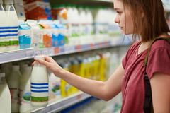 Horizontal view of serious beautiful young female chooses milk products in dairy deparment of supermarket, dressed in casual t shi. Rt, has short hair. People royalty free stock photography