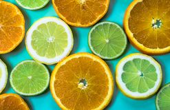 Selection of slices of citrus fruit on a bright high contrast turquoise background. Horizontal view of slices of citrus fruit on a bright high contrast turquoise royalty free stock photos