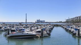 Boats docked in the port of cadiz Stock Photography