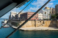 Horizontal View of the Taranto Swing Bridge Protected By Rolling Fenders for the ITS Cavour Transit stock photos