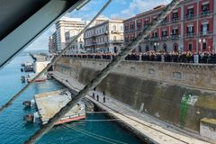 Horizontal View of the Taranto Swing Bridge Protected By Rolling Fenders for the ITS Cavour Transit royalty free stock images