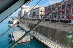 Horizontal View of the Taranto Swing Bridge Protected By Rolling Fenders for the ITS Cavour Transit stock photo