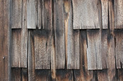 Horizontal Vintage Barnwood Shingles. Aged barn wood shingles for backgrounds and textures. Vertical shingles in a horizontal layout Stock Photos