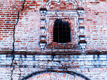Horizontal vintage cracked textured brick wall of Russian church Stock Image