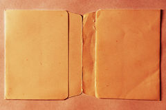 Horizontal vintage double page orange empty floppy case Stock Image