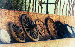 Horizontal vintage history of wheels film scan  Stock Images