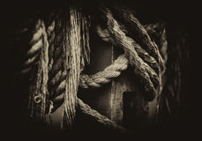Horizontal vintage medieval ship ropes in detail Royalty Free Stock Photo