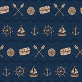 Horizontal vintage wave of boat, chest, paddle, compass. A vintage, modern, and flexible pattern for brand who has mature and fun style. Repeated pattern. Happy vector illustration