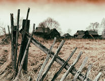 Horizontal vintage zombie ghost town fence bokeh background back Royalty Free Stock Images
