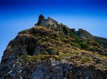 Horizontal vivid abandoned castle on the rock Stock Image
