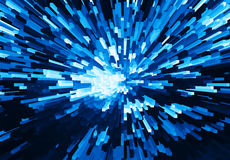 Horizontal vivid blue cube pixel explosion business vector illustration