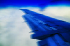 Horizontal vivid blue jet wing abstraction Royalty Free Stock Images