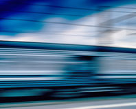 Horizontal vivid blue train motion blur abstraction background b Royalty Free Stock Photo