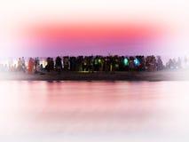 Horizontal vivid crowd meeting sunrise landscape vignette backgr Royalty Free Stock Photography