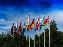 Horizontal vivid European flags composition Stock Photography