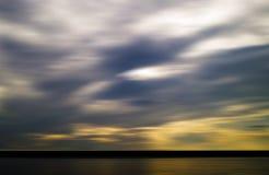 Horizontal vivid evening sunset on river Stock Photography