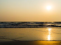Free Horizontal Vivid Golden Tidal Waves With Sun Reflection Royalty Free Stock Photography - 61914247